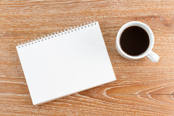 notebook and coffee