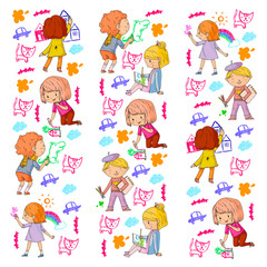 Children painting. School and kindergarten kids creative class. Education, play and grow together. Boys and girls drawing by pen and pencils. Playground.