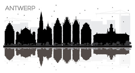 Zelfklevend Fotobehang Antwerpen Antwerp Belgium City skyline black and white silhouette with Reflections.