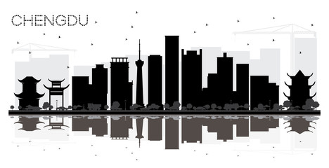 Chengdu China City skyline black and white silhouette with Reflections.