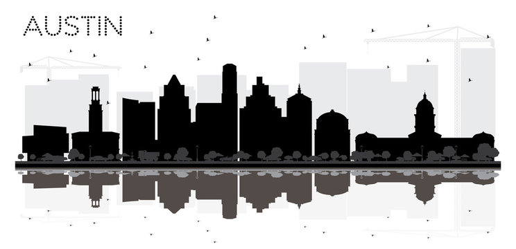 Austin Texas City skyline black and white silhouette with Reflections.