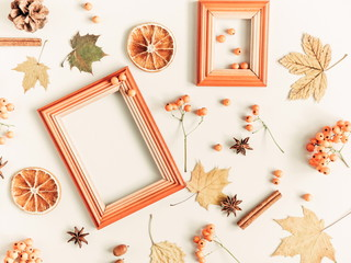 Autumn composition. Cup of coffee, empty wooden frame, dried leaves, cinnamon, star anise, cones, light background. Autumn elegant concept. Flat lay, top view, copy space