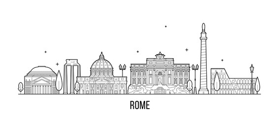 Wall Mural - Rome skyline Italy city buildings vector