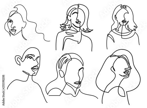 Continuous Line Drawing Of Set Faces And Hairstyle Fashion Concept