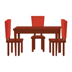 table dinning room with chairs vector illustration design