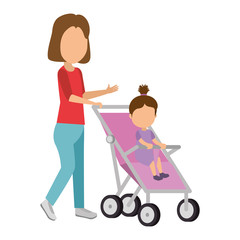 mother with little girl baby in cart vector illustration design