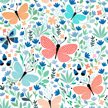 Hand drawn seamless pattern with butterflies and plants