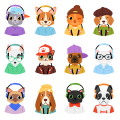 Animal in headphones vector animalistic character cat or dog in earphones listening to music illustration set of cartoon wild doggy and kitty dj in headgear or earbuds isolated on white background