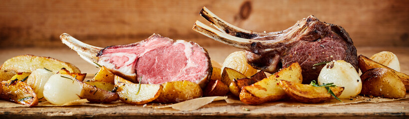 Panorama banner of grilled lamb chops