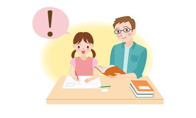 女の子に勉強を教える先生