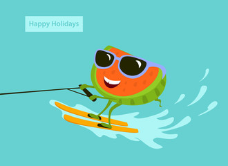 cute fun cartoon watermelon waterskiing on vacation vector iluustration