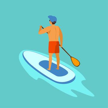 man standup paddleboarding on water