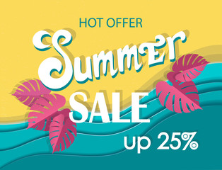 Summer sale banner, signboard, decor for the store. Top view of beach and sea, background, vector. Girl in swimsuit