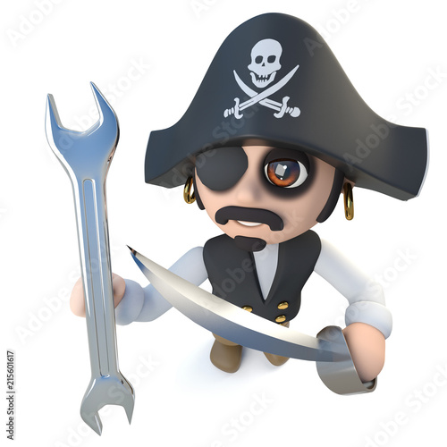 3d Funny Cartoon Pirate Captain Character Holding A Spanner Wrench