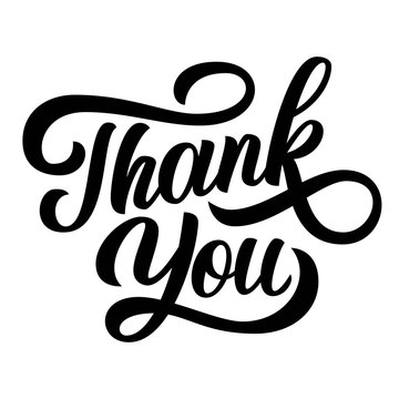 Thank you hand lettering, black ink brush calligraphy isolated on white background.
