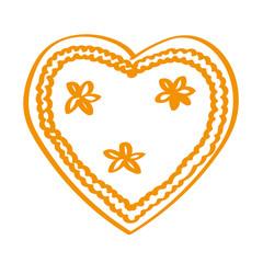 Handgezeichnetes Lebkuchenherz in orange