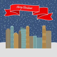 Night city with stellar sky and a red ribbon with the inscription Happy Christmas. Vector illustration.