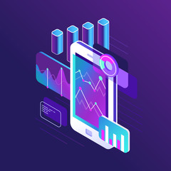 Wall Mural - Data research infographic, trends graph and business strategy charts on smartphone screen. Trend chart 3d isometric vector illustration