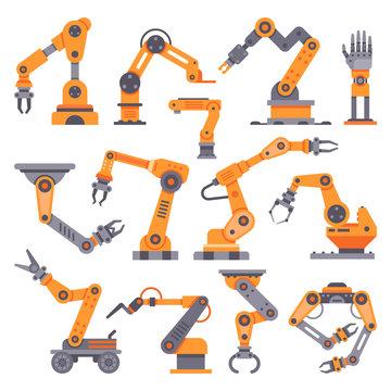 Flat manufacture robotic arm. Automatic robot arms, auto factory conveyor industrial equipment. Electronics robots hands vector set