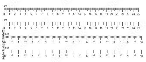 """""""Inch and metric rulers. Centimeters and inches measuring ..."""
