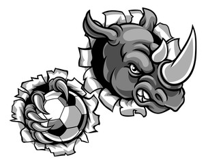 Rhino Holding Soccer Ball Breaking Background