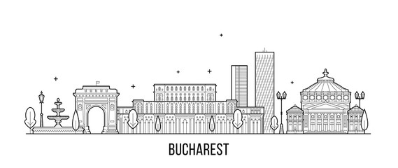 Wall Mural - Bucharest skyline Romania city buildings vector