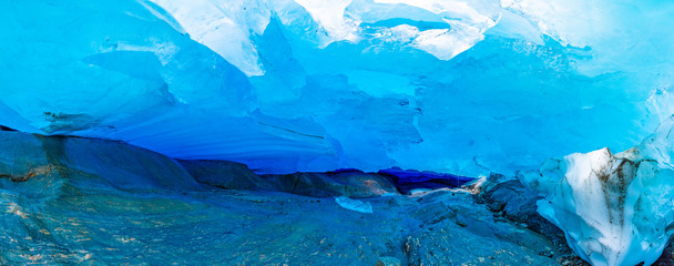Blue ice cave of Svartisen Glacier, Norway