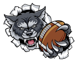 Wolf American Football Mascot Breaking Background