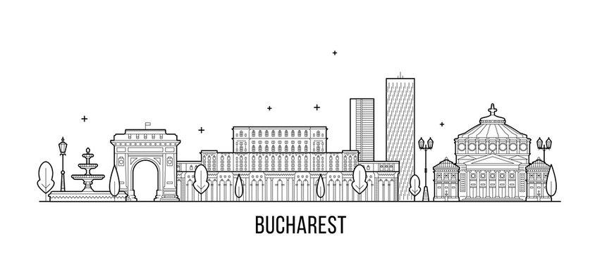 Bucharest skyline Romania city buildings vector