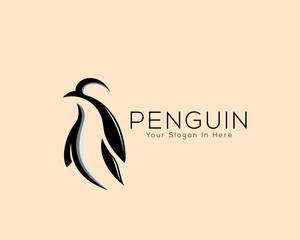 creative stand penguin animal logo vector