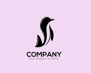 creative stand penguin animal logo vector with negative space