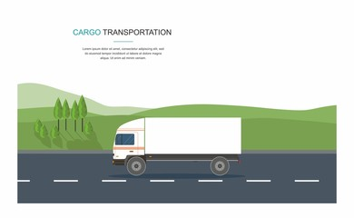 Semi-truck on the road . Cargo Tpansporation