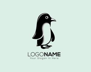 stand fun penguin animal art logo vector