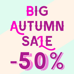 A bright blue poster with a discount of 50 percent, pink letters in the inscription