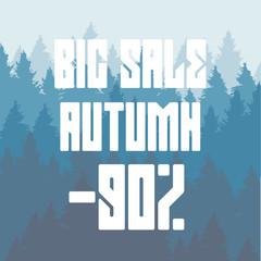 Vector drawing of a big autumn sale, a 90 percent discount