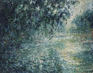 クロード・モネ セーヌ川の朝 ステンドグラスアート