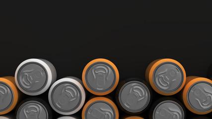 Big black, white and orange soda cans on black background