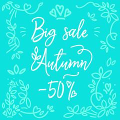 Light blue poster with white inscription big autumn sale