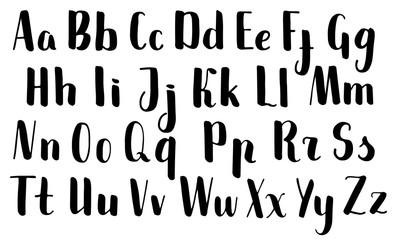 Handwritten brush pen letters. Black vector alphabet on white background. Brush pen script isolated.
