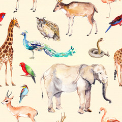 Wild animals and birds - zoo, wildlife - antelope, snake, deer, flamingo, other . Repeating pattern. Watercolor