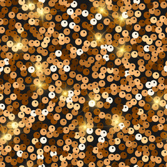 Glitter seamless texture. Admirable red gold particles. Endless pattern made of sparkling spangles.