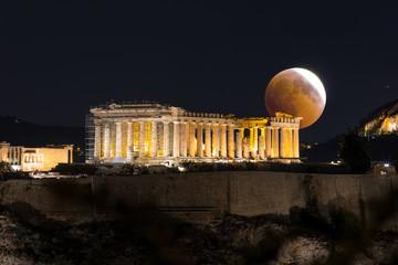 Fototapete - Mondfinsternis hinter dem Parthenon Tempel der Akropolis in Athen, Griechenland