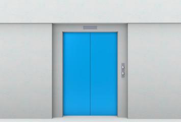 3d rendering. blue elevator door with gray cement wall background.
