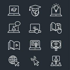 E-learning distance education icons
