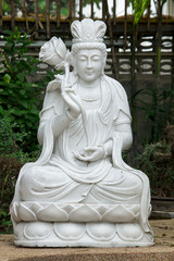 Statue of Guan Yin carved from marble.