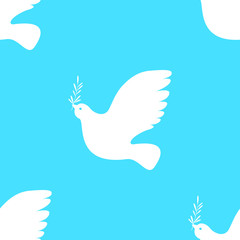 International Peace Day. White dove with olive branch. Seamless Pattern