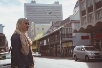 Hijab woman standing on street