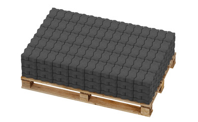 3D realistic render of black lock paving, placed on wooden palette. Isolated on white background.
