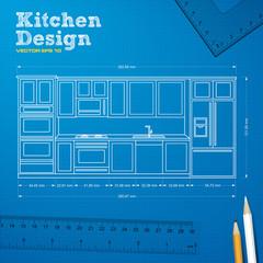 kitchen project blueprint vector
