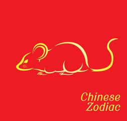 Chinese Zodiac Set Rat Vector Illustration